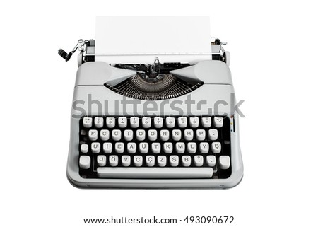 Vintage f type typewriter and paper on isolated white background