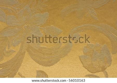 Vintage  Fabric pattern gold. - stock photo