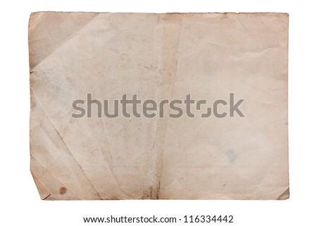 Vintage faded paper sheet on white - stock photo