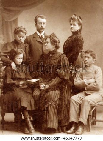 Vintage family photo (circa 1910) - stock photo