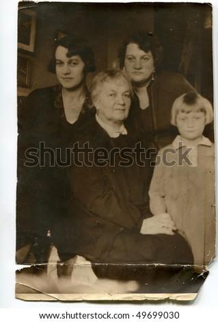 Vintage family photo (circa 1930) - stock photo