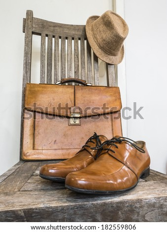 Vintage fashion bag , shoes ,hat , accessories - stock photo