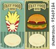 Vintage Fast Food Labels - the food on  grunge background - JPEG version - stock photo