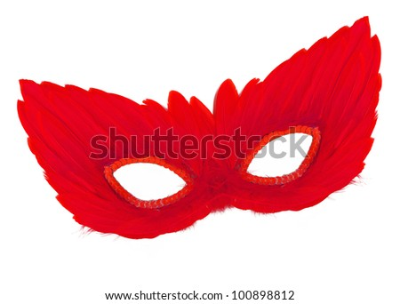 Vintage Festive Red Feathers with Sequin dress mask isolated on white background - stock photo