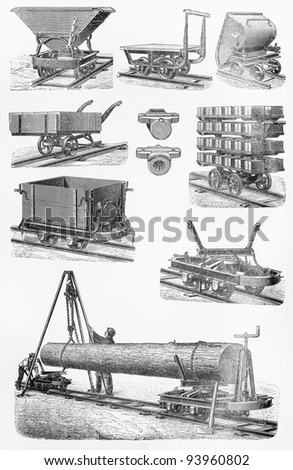 Vintage  field railways at the end of 19th century - Picture from Meyers Lexicon books collection (written in German language ) published in 1908 , Germany. - stock photo