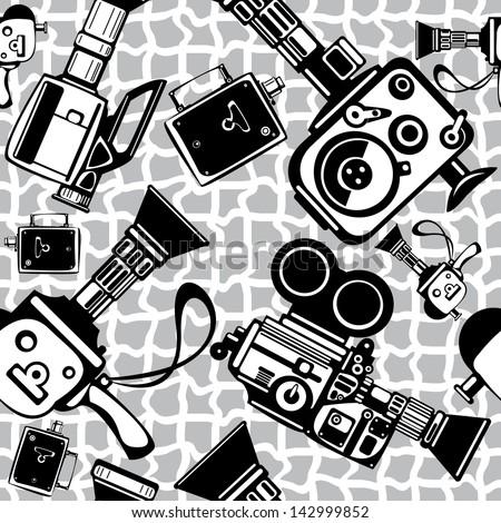 vintage film cameras seamless pattern - stock photo