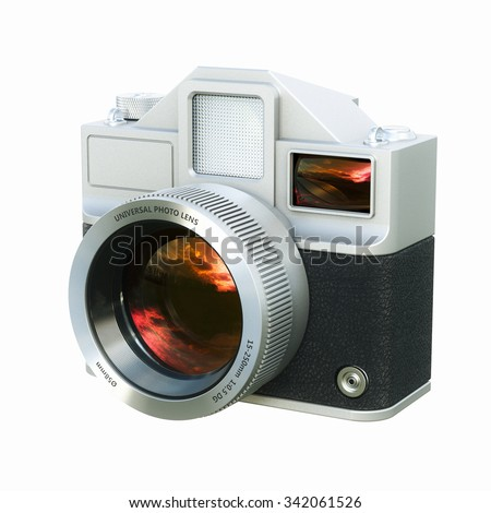 Vintage film photo camera isolated on white . 3d render - stock photo