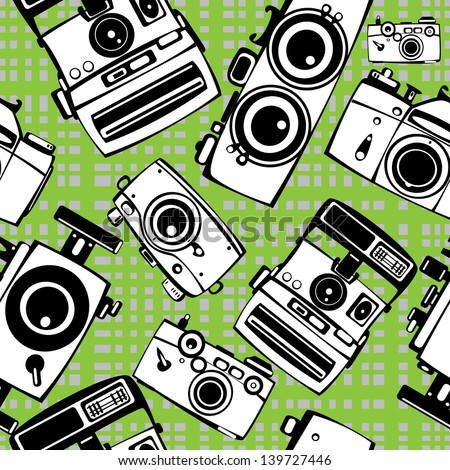 vintage film photo cameras  seamless pattern - stock photo