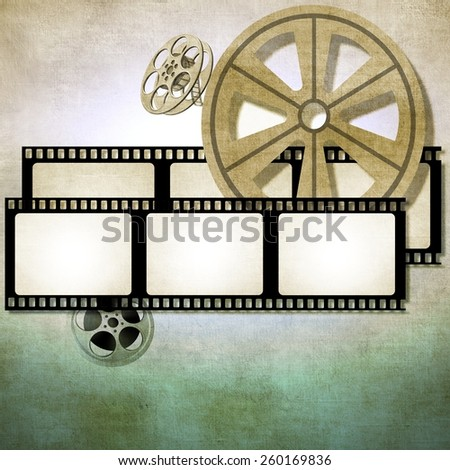 Vintage film strip background with reels - stock photo