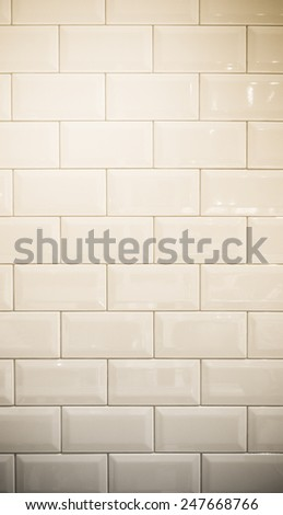 vintage filter : ceramic brick tile wall background texture - stock photo