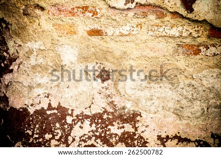 Vintage filter :  Cracked decay painted concrete wall texture background,grunge wall. - stock photo