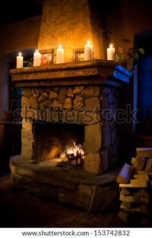 Stone Fireplace Stock Images Royalty Free Images