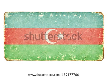 Vintage flag of Azerbaijan. - stock photo