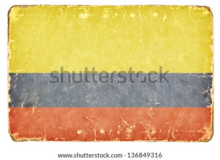 Vintage Flag of Colombia. - stock photo