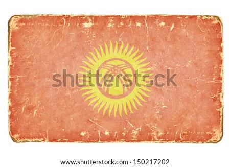 Vintage flag of Kyrgyzstan. Background. - stock photo