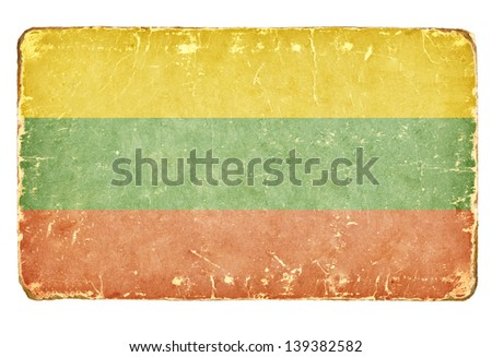 Vintage flag of Lithuania. - stock photo