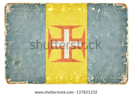 Vintage Flag of Madeira - stock photo