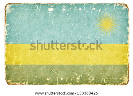 Vintage Flag of Rwanda. - stock photo