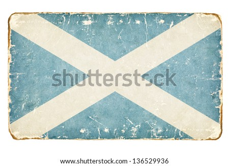 Vintage Flag of Scotland. - stock photo