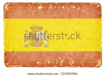 Vintage flag of Spain. - stock photo