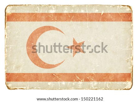 Vintage Flag of the Turkish Republic of Northern Cyprus. Background. - stock photo