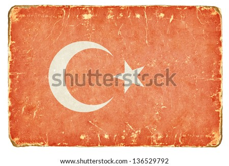 Vintage flag of Turkey. - stock photo