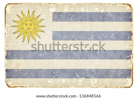 Vintage flag of Uruguay. - stock photo