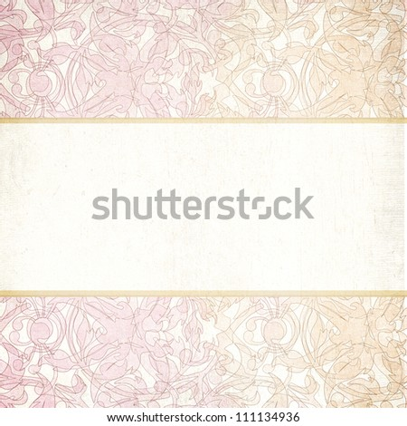 vintage  floral abstract wedding invitation template for background - stock photo