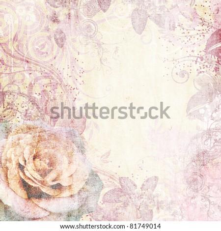 Vintage floral background - stock photo