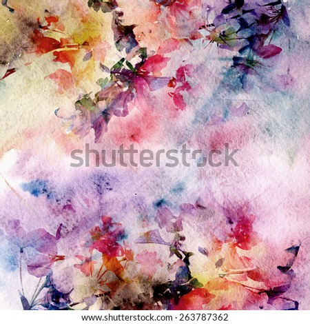 Vintage floral background. Birthday card. - stock photo