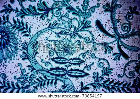 Vintage Floral Background.Old Texture. - stock photo