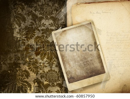 Vintage floral background with old papers and photo