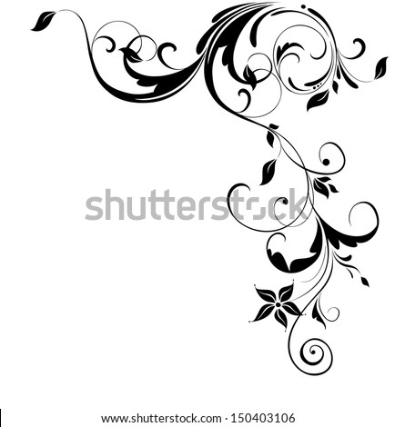 Vintage floral corner. Raster copy - stock photo