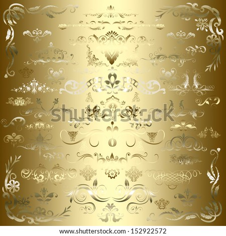 Vintage floral elements, ornament frames and gold flourishes on a gold background