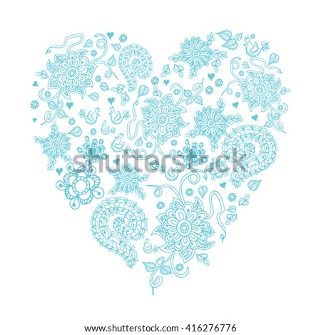Vintage floral heart for greeting or invitation card. Blue hand drawn vector element for birthday, Valentine day and wedding. - stock photo