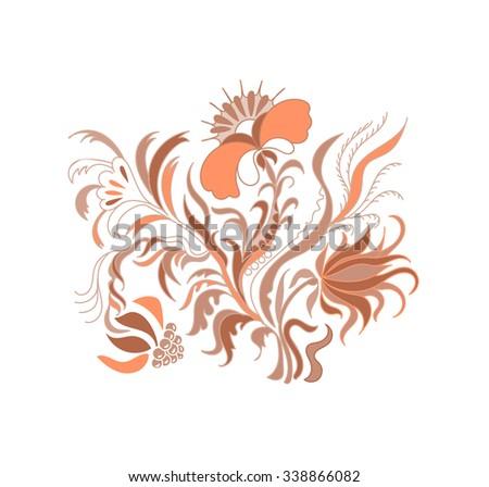 Vintage floral  illustration. Brown floral ornament. Brown floral pattern with vintage flowers. Raster version - stock photo