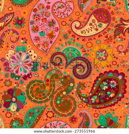 Vintage floral motif ethnic seamless background. Abstract lace pattern. Hand drawing colorful wallpaper. Multicolored texture.