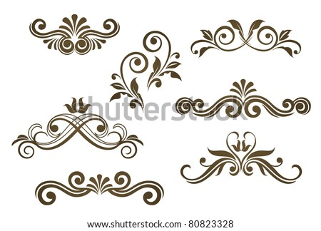 Vintage floral motifs for design isolated on white. Vector version also available in gallery - stock photo
