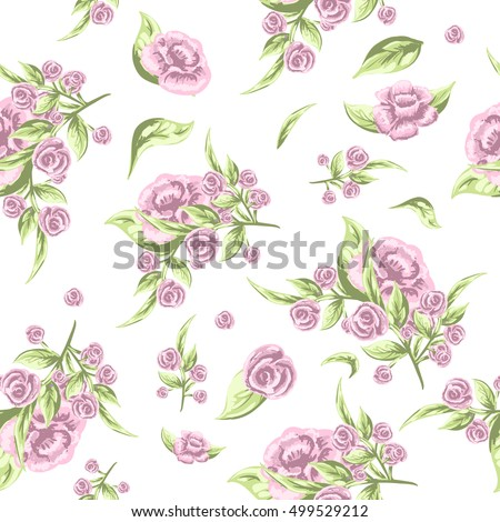 Vintage floral seamless pattern, Old style fashion illustration