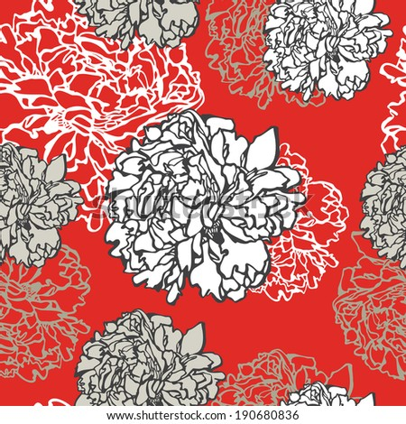 Vintage floral seamless pattern peonies - stock photo