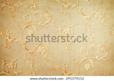 vintage floral wallpaper background - stock photo