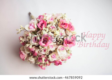 Vintage flowers and card happy birthday holiday background select