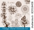 Vintage flowers drawn - Raster version - stock photo