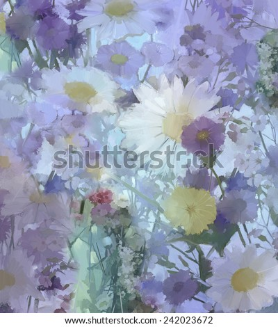 Vintage flowers painting.Flowers in soft color and blur style for background.Oil painting flowers - stock photo