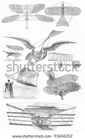 Vintage flying machines from the 19th century period - Picture from Meyers Lexicon books collection (written in German language ) published in 1908 , Germany. - stock photo