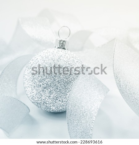 vintage for silver ball of merry christmas - stock photo