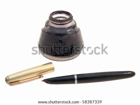 Vintage fountain pen with golden cap and open bottle of black ink isolated on white - stock photo