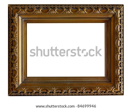 vintage frame isolated on white - stock photo