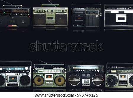 Vintage frame of radio boombox of the 80s