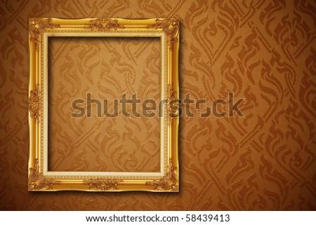 vintage frame on seamless wallpaper - stock photo